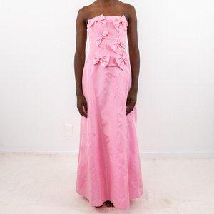 Gunne Sax Vintage S Bow Satin Formal Dress Pink